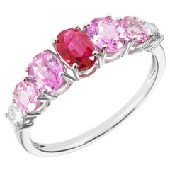 Original Feminine Natkina Red Ruby Pink Sapphire Diamond Ring for Her