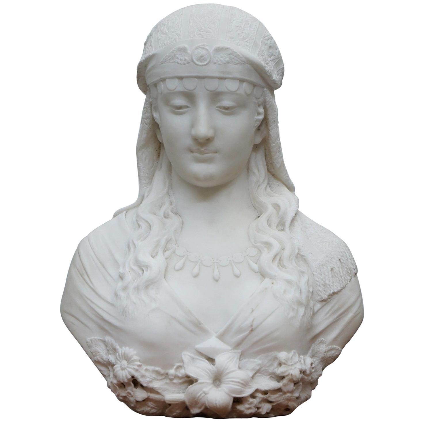 Original Ferdinando Vichi Italian 1875-1945 Marble Bust Egyptian Beauty Princess