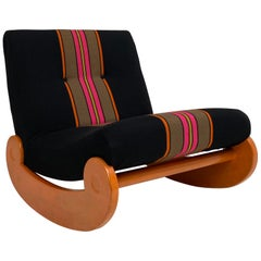 Original First Owner Custom Wool Fabric Rocking Lounge Chair, Germany circa 1970
