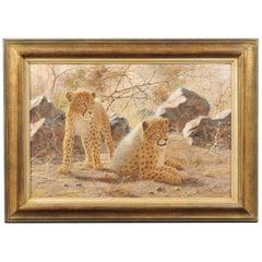 Original Framed Paul Rose Wildlife Horizontal Painting Depicting Two Cheetahs