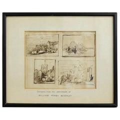 Original Framed Sketches Roxby Beverley 19th Century Theatrical Scene Artist Art
