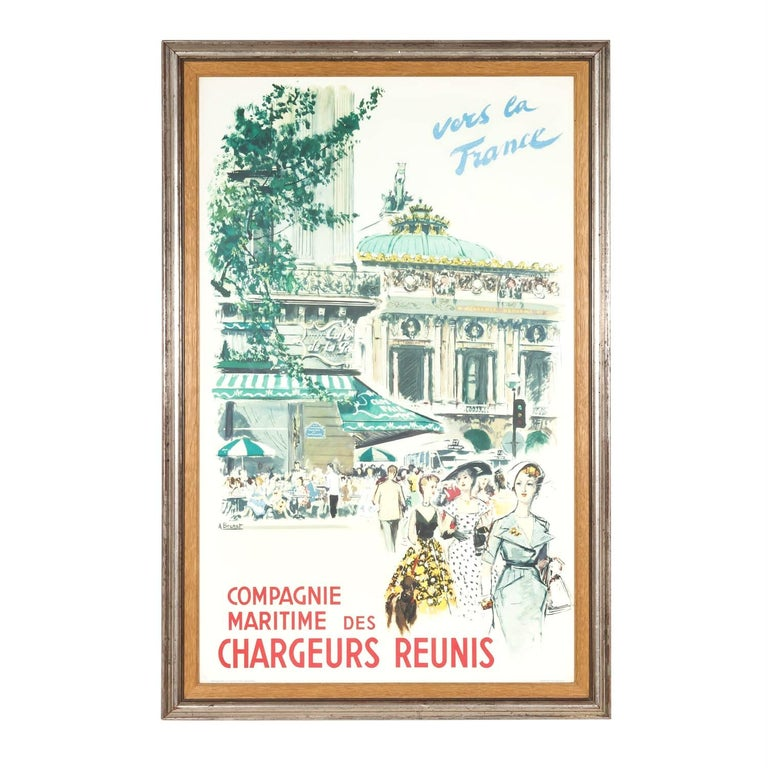 A wonderful framed original French advertising poster by artist Albert Brenet for the maritime company Chargeurs Réunis, circa 1950s. This bright and lively French travel poster features three stylish ladies and a French poodle as they stroll along