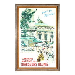 "Original Framed Vintage French Travel Poster ""Chargeurs Reunis Vers la France"""