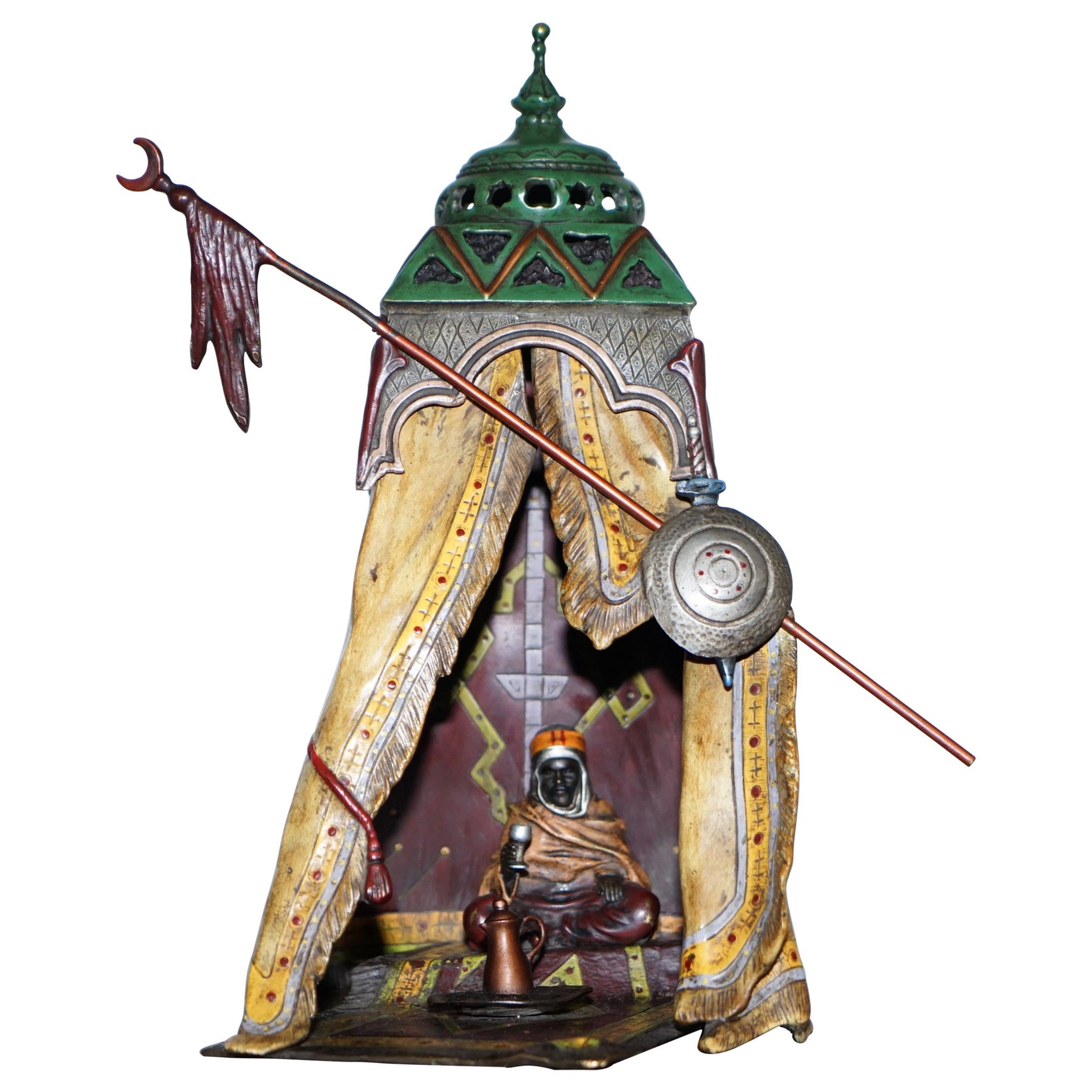 Original Franz Bergman Vienna Large Solid Bronze Orientalist Cold Painted Lamp