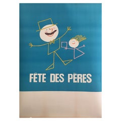 Original French 1950s Vintage Poster, 'Fête Des Peres', Fathers Day