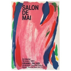 Original French Abstract Exhibition Poster, 'Salon De Mai' by Olivier Debré 1991
