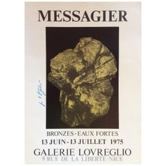 French Poster Signed by Jean Messagier, 1975 depicting Bronze Sculptures