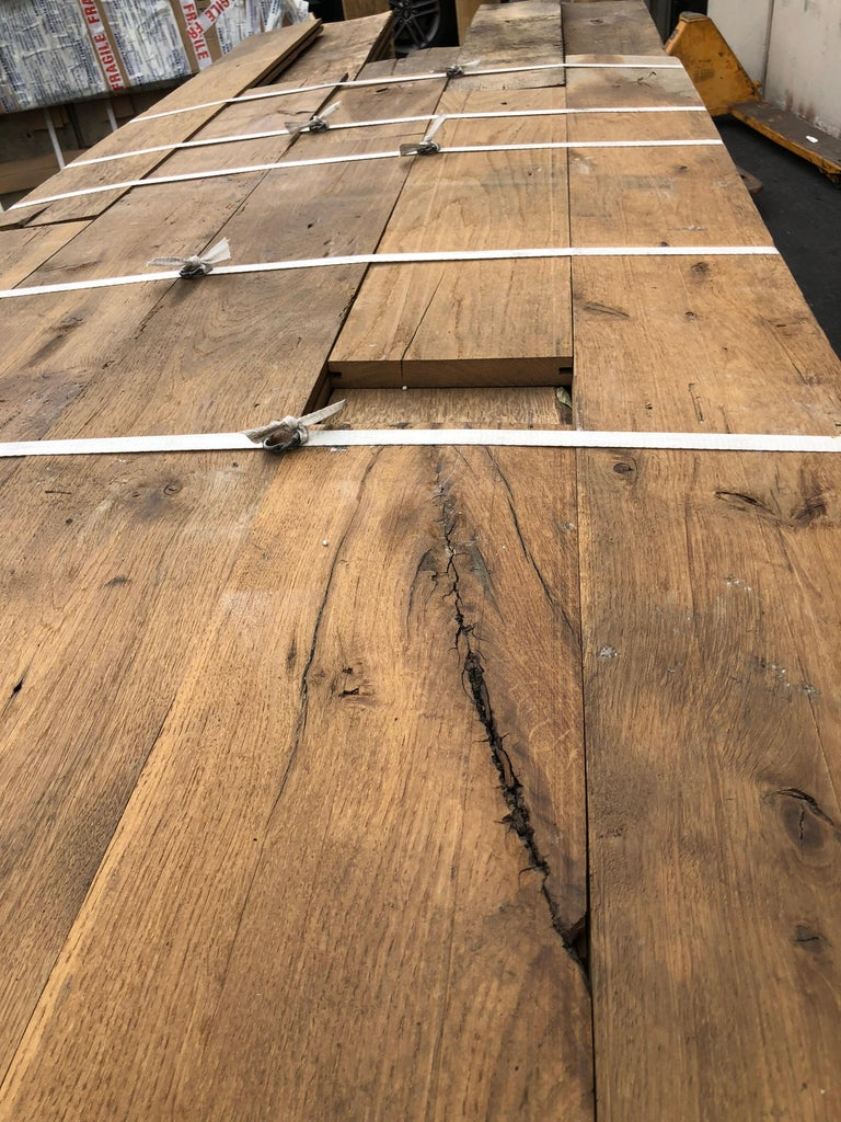 Only 3,000 square feet available right now. Price per square foot. Random dimensions. Authentic and original French antique solid wood oak flooring, 18th century from France. Available right now from our location in Los Angeles, California. Ready