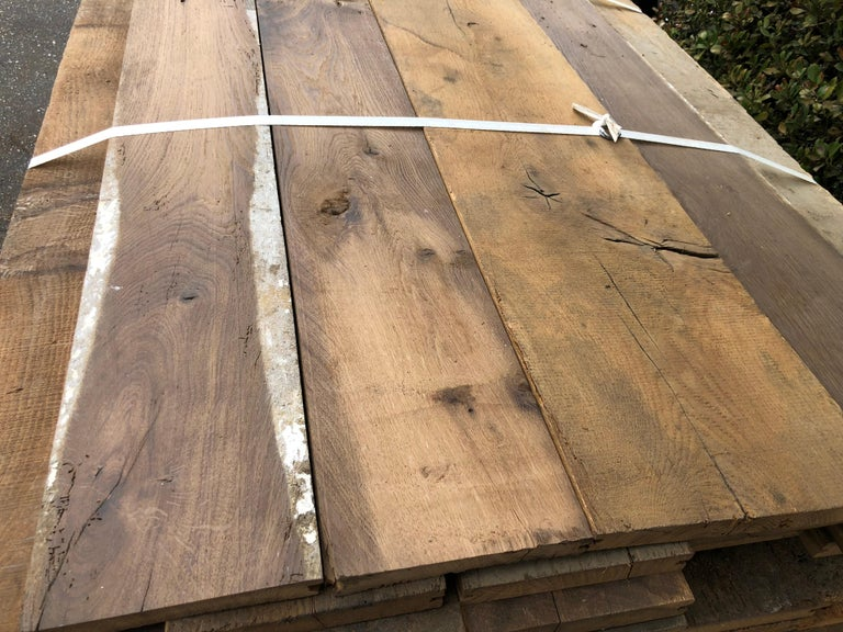 Original French Antique Solid Wood Oak Flooring, France, 18th Century In Good Condition For Sale In LOS ANGELES, CA