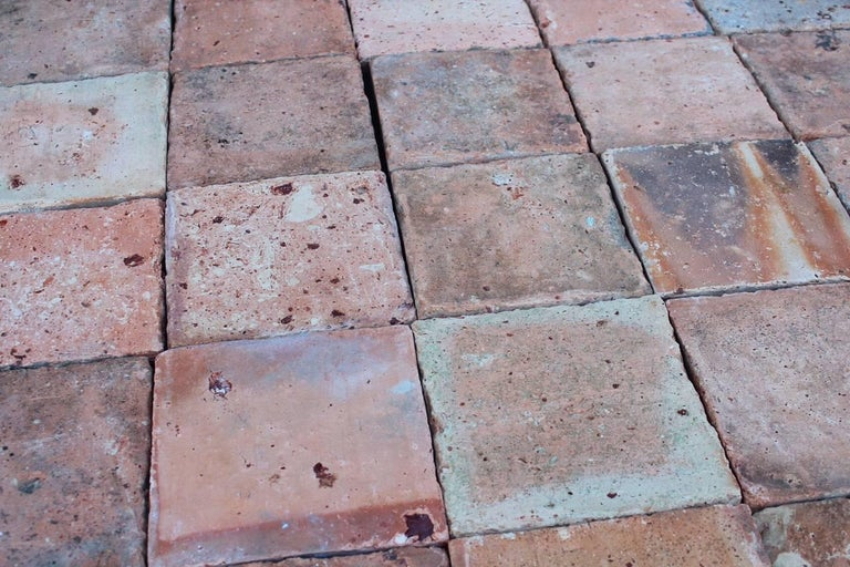 Original French antique square terracotta flooring from 18th-19th century. We have few thousands square feet available right now from our Los Angeles warehouse.  Each original tile has been hand selected and hand cleaned, ready for