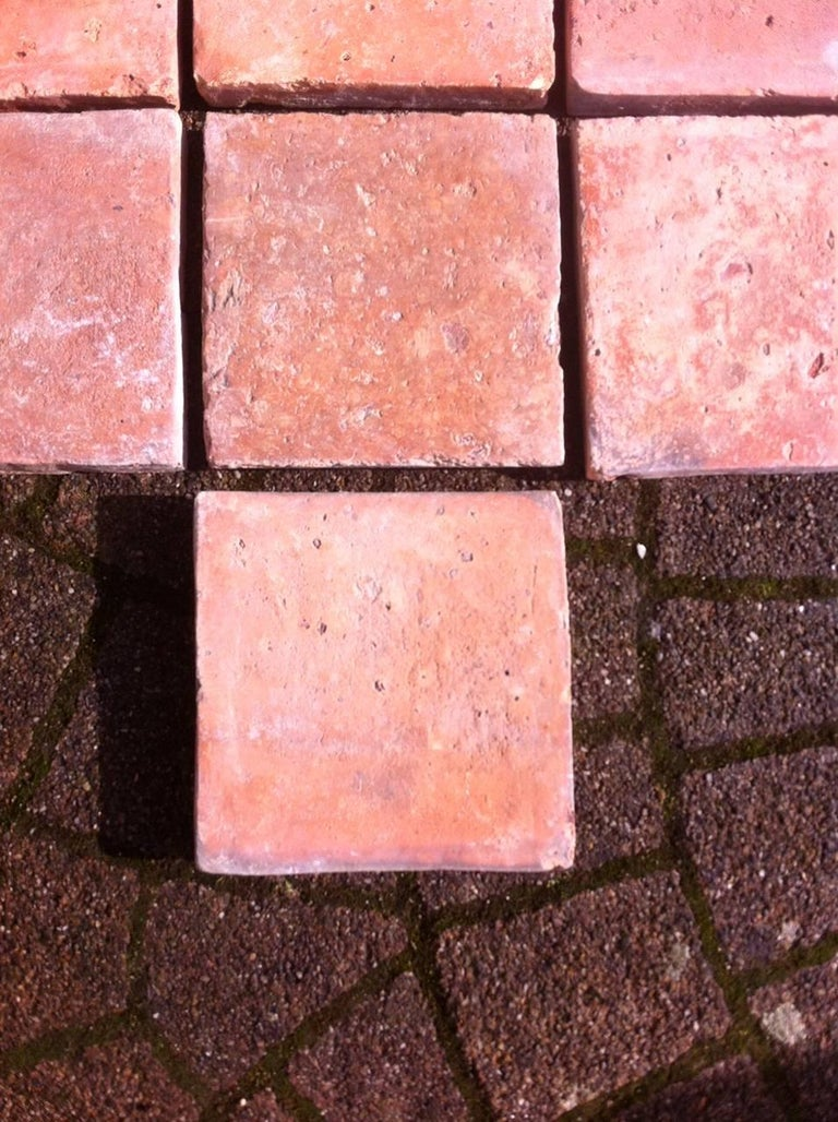 Hand-Crafted Original French Antique Square Terracotta Flooring, 18th-19th Century For Sale