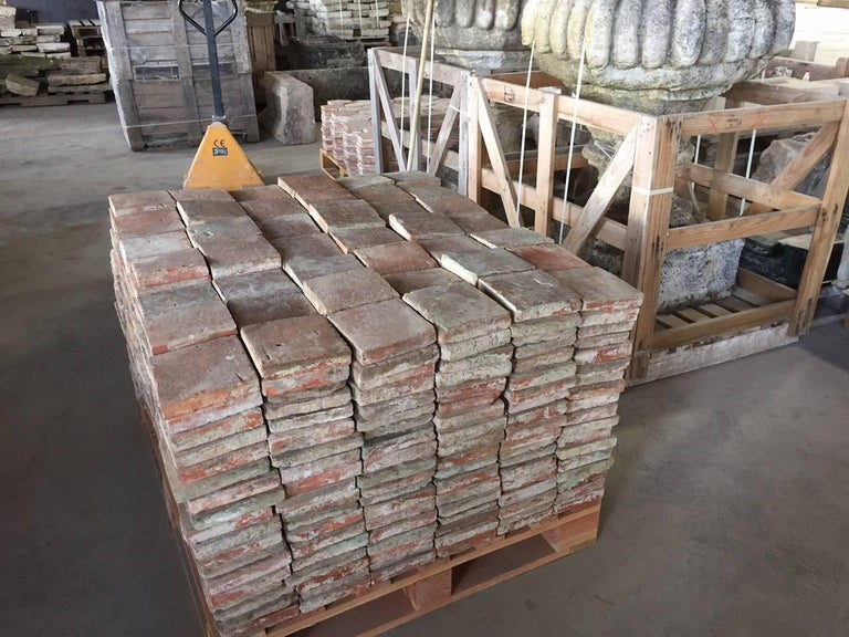 Original French Antique Square Terracotta Flooring, 18th-19th Century In Good Condition For Sale In LOS ANGELES, CA
