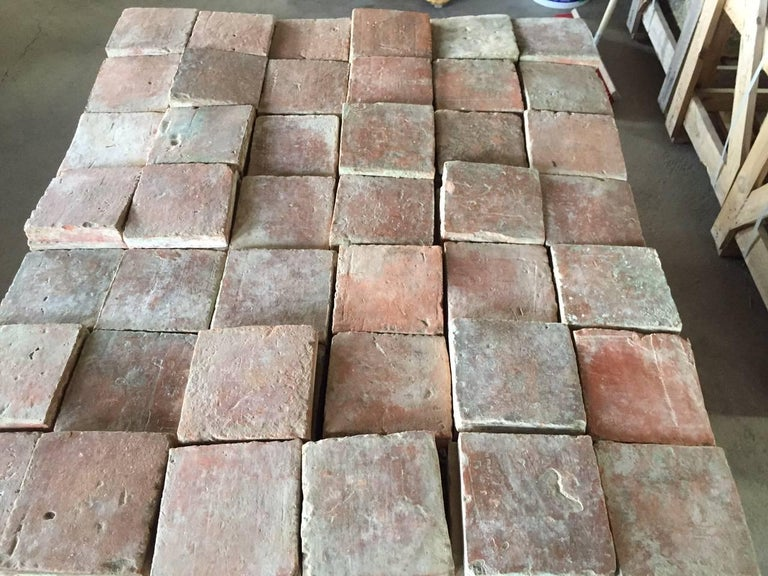 18th Century and Earlier Original French Antique Square Terracotta Flooring, 18th-19th Century For Sale