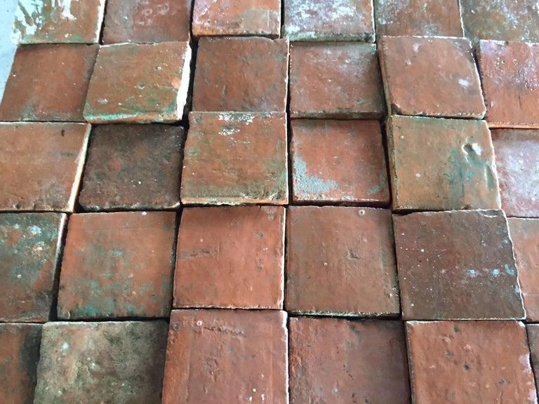 Original French Antique Square Terracotta Flooring, 18th-19th Century For Sale 1