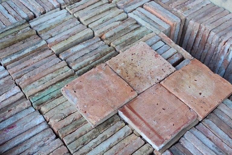 Original French Antique Square Terracotta Flooring, 18th-19th Century For Sale 2