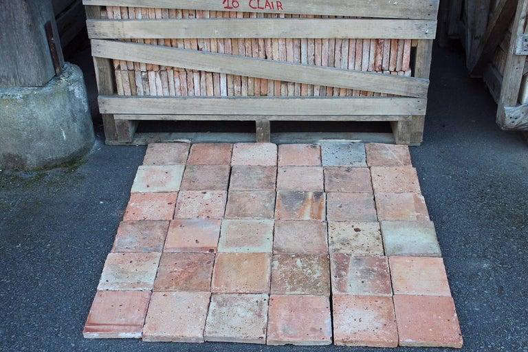 Original French Antique Square Terracotta Flooring, 18th-19th Century For Sale 3