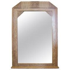 Original French Art Deco Cerused Oak Mirror