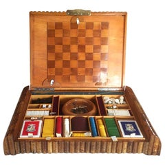 Original French Art Deco Game Box in Wood 1930 Card Chess Draughts Poker Chips