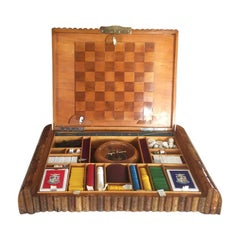 Original French Art Deco Game Box in Wood, 1930s