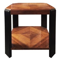 Original French Art Deco Octagonal Table in Rosewood, 1930s