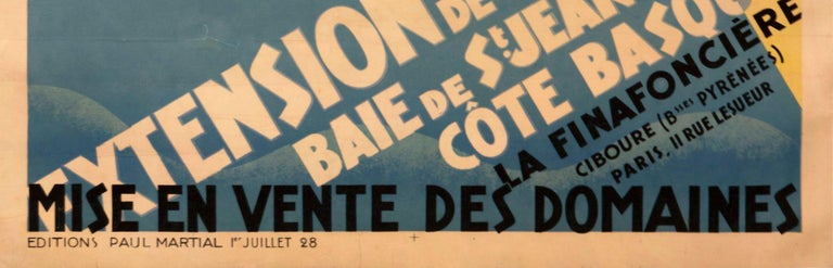 Original French Art Deco Poster for Ciboure on the Cote Basque by Bernard In Good Condition For Sale In Los Gatos, CA