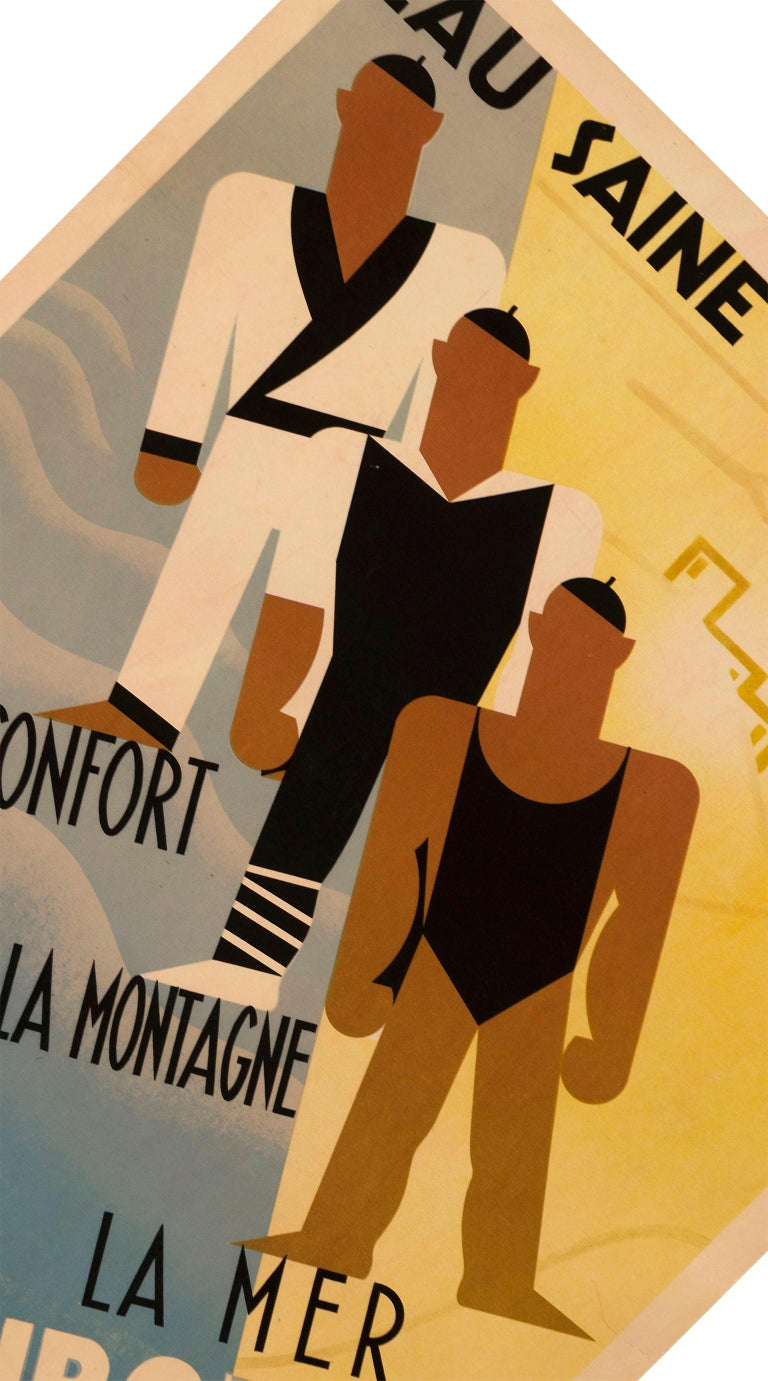 Paper Original French Art Deco Poster for Ciboure on the Cote Basque by Bernard For Sale
