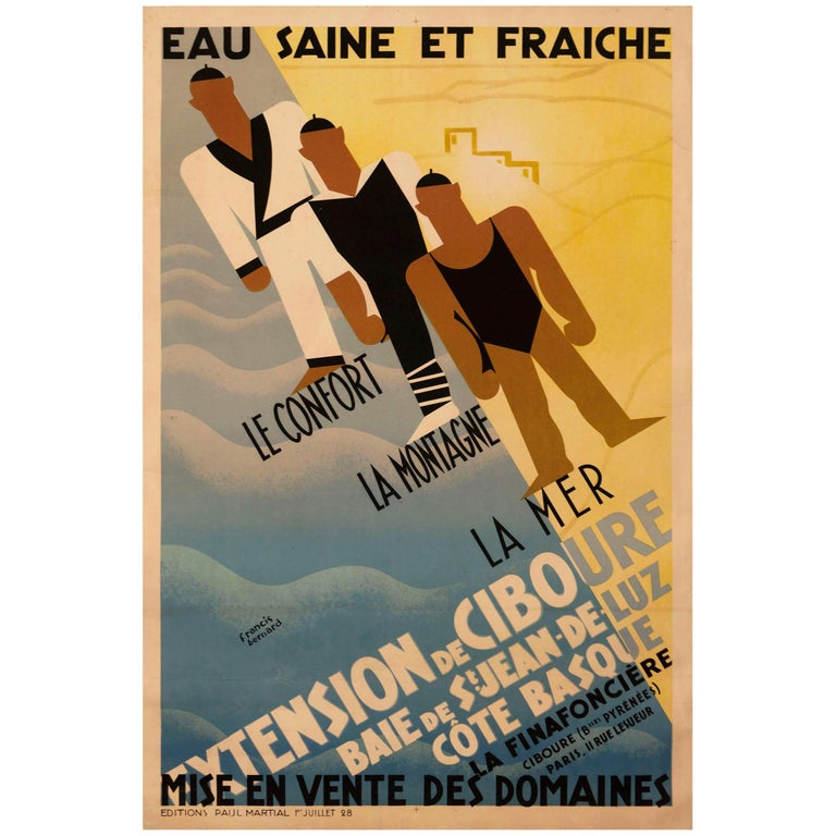 Original French Art Deco Poster for Ciboure on the Cote Basque by Bernard For Sale