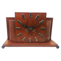 Original French Art Deco Table Clock in Briar Root, 1930s