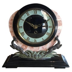 Original French Art Deco Table Clock in Marble and Bronze, 1930s