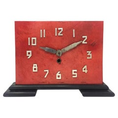 Original French Art Deco Table Clock in Red Parchment, 1930s