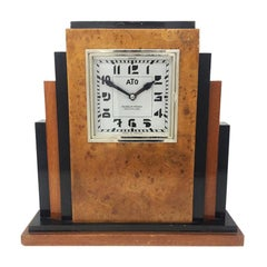 Original French Art Deco Table Clock with ATO Clockwork, in Briar Root, 1930s