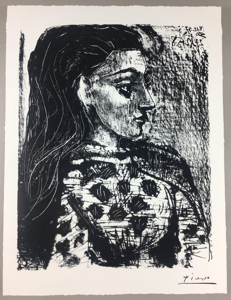 Original art exhibition poster of Pablo Picasso's interesting works of art. The exhibit was held at a small Community in the suburbs of Nice, France in 1981.   Creases in the paper, may be corrected and less visible when framed with a mat board.