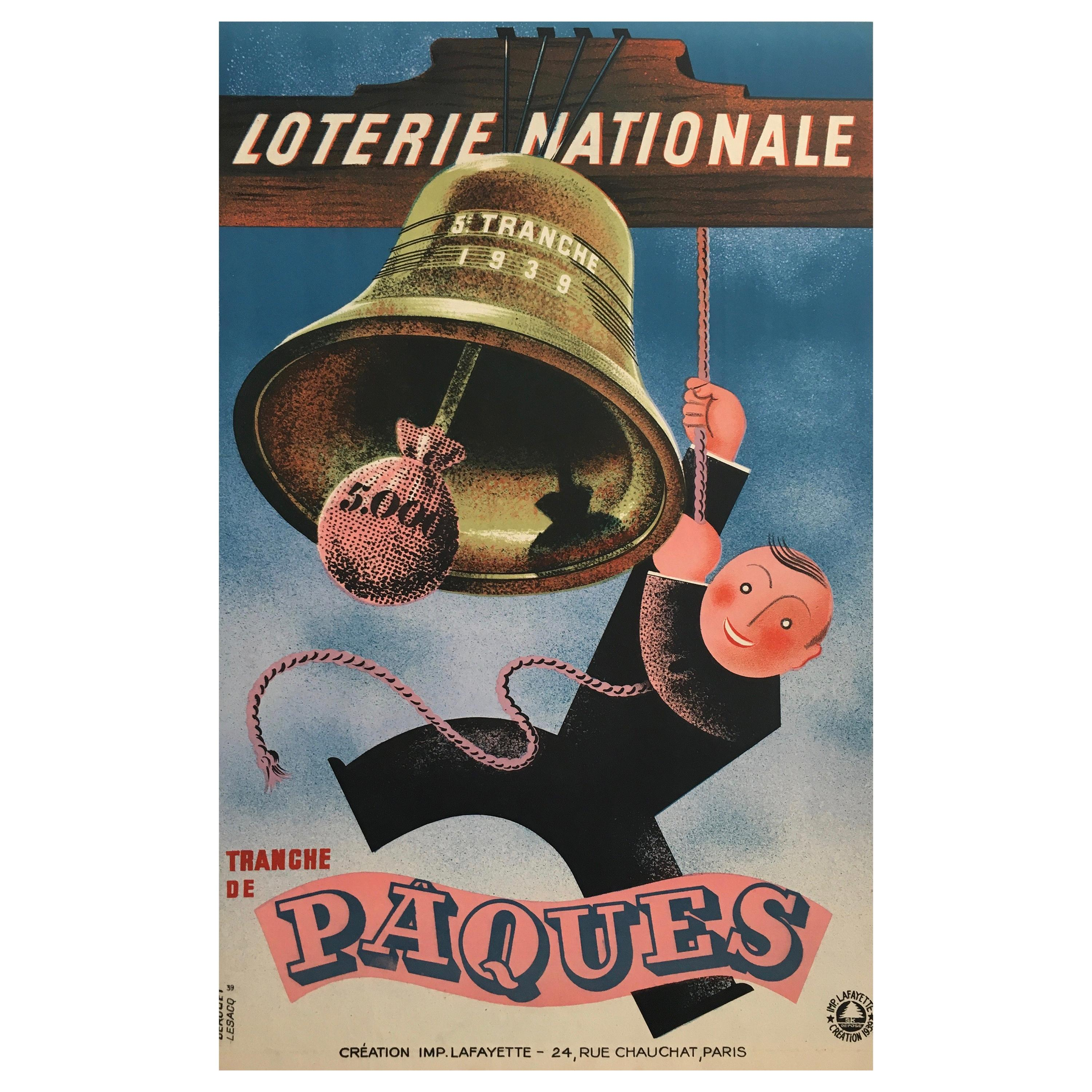 Original French Lithograph Loterie Nationale Poster 'Tranche De Paques', 1938