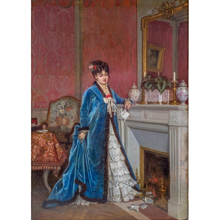 Original French oil painting of a lady reading a letter by Auguste Toulmouche.  Title: News From Afar  Artist: Auguste Toulmouche (French, 1829-1890) Origin: French Signature: signed A. Toulmouche (lower left)  Medium: oil on