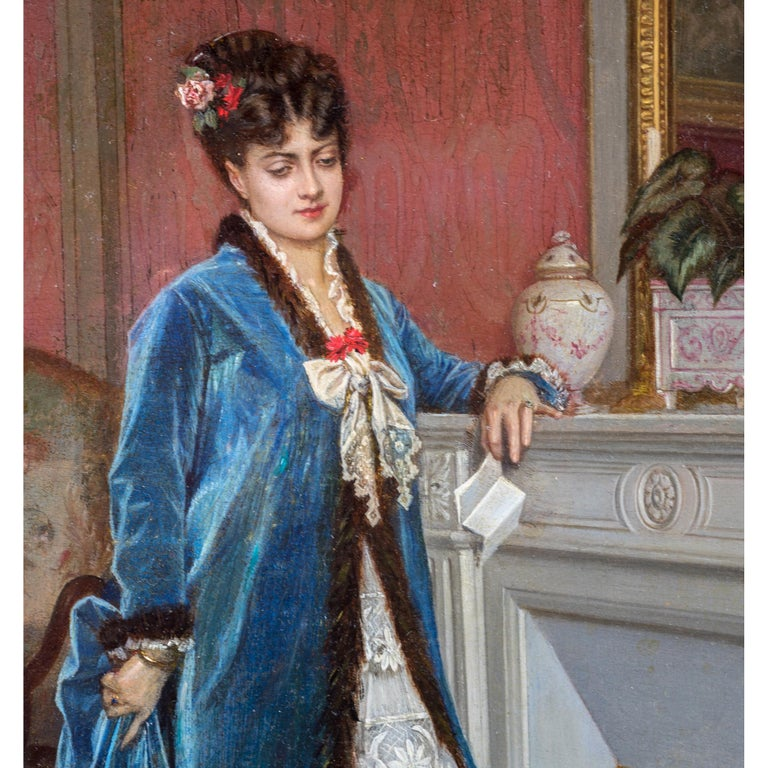 Painted Original French Oil Painting of a Lady Reading a Letter by Auguste Toulmouche For Sale