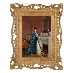 Original French Oil Painting of a Lady Reading a Letter by Auguste Toulmouche