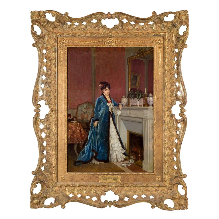 Original French Oil Painting of a Lady Reading a Letter by Auguste Toulmouche For Sale