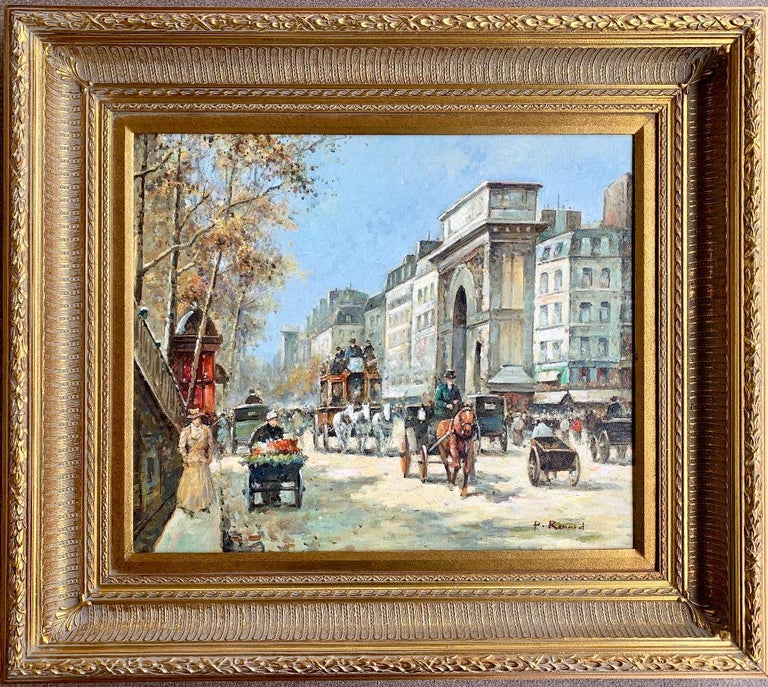 Very illuminating, impressionistic style, original oil painting on canvas by listed, deceased French artist, Paul Renard (1941-1997), depicts a busy Paris street scene in autumn, the hustle and bustle of life on the famous Place de l'Etoile (now