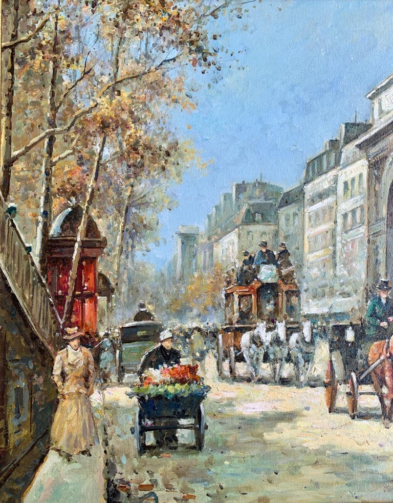 Hand-Painted Original French Paul Renard Painting of a Bustling Paris Street Scene in Autumn For Sale