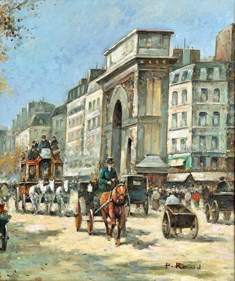 Original French Paul Renard Painting of a Bustling Paris Street Scene in Autumn In Excellent Condition For Sale In Tustin, CA