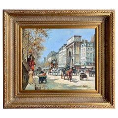 Original French Paul Renard Painting of a Bustling Paris Street Scene in Autumn
