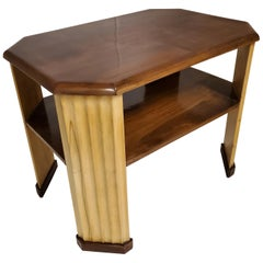 Original French Rectangular or Octagonal Walnut and Sycamore Side Table