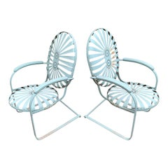 Original French Steel Lounge Chairs by Francois Carre