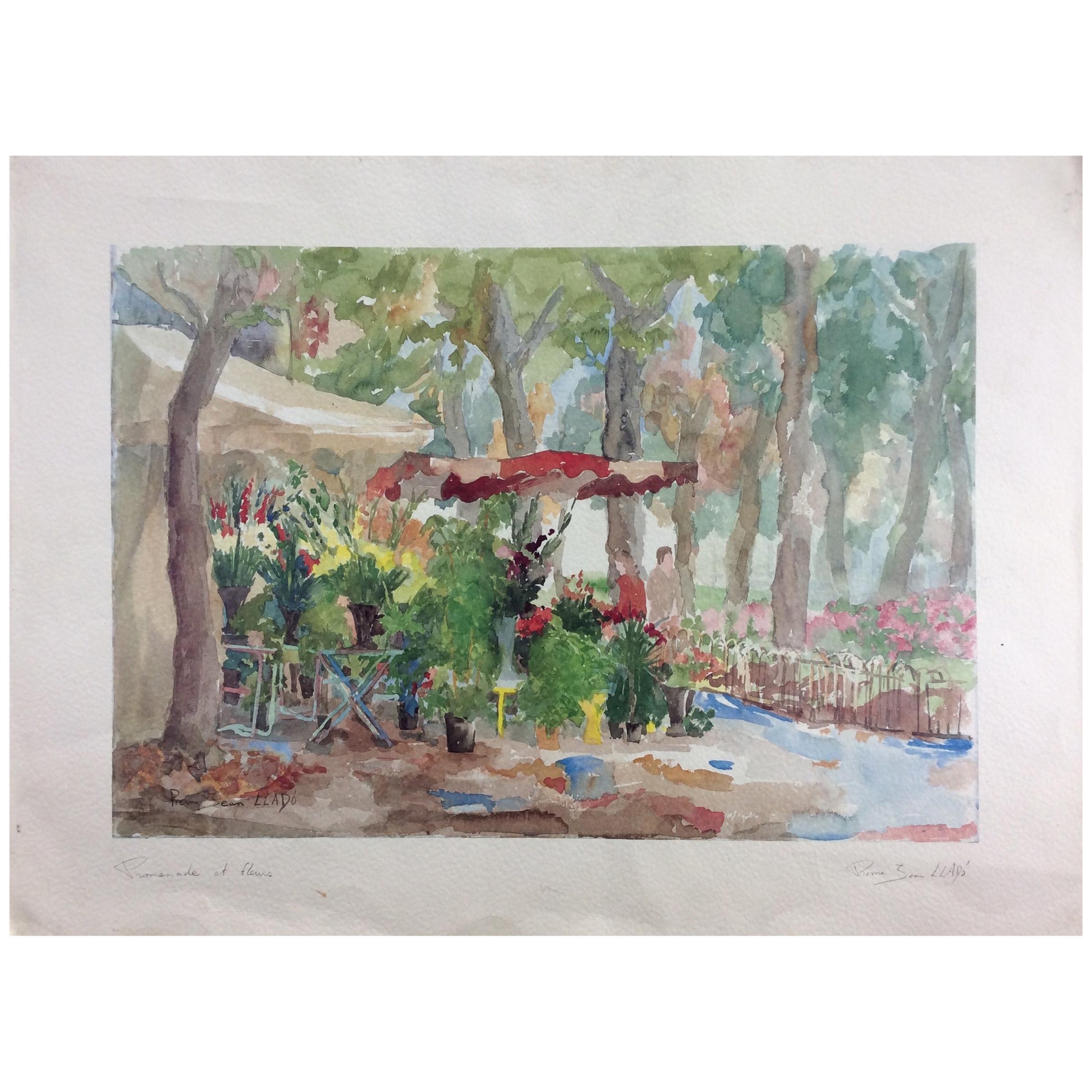 "Original French Watercolor Painting Titled ""Promenade et Fleurs"", Signed Llado"