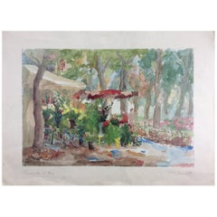 "Original French Watercolor Painting Titled ""Promenade et Fleurs"", Signed Llado"