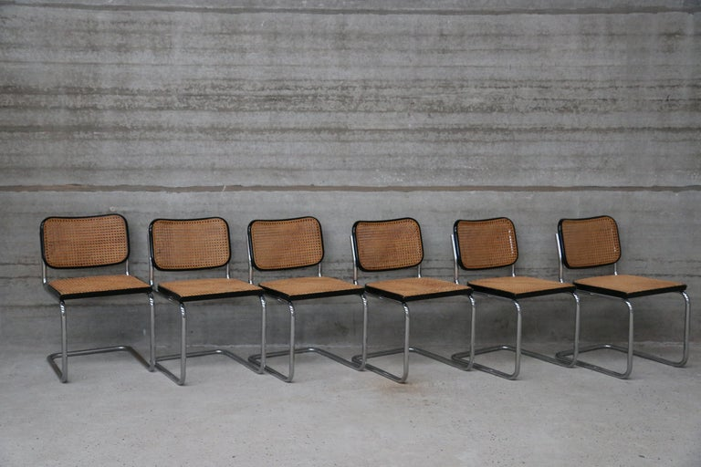 Stunning pair of midcentury late 1960s Cane Cesca sidechairs originally designed by Marcel Breuer in 1928. All hand caning (see photos) and both chairs still retain markings of both Knoll and Gavina. Chrome tubular frames. Chairs are an early