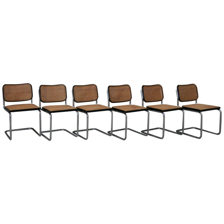 "Original Gavina Set of Six ""Cesca"" Midcentury Chairs by M. Breuer, Italy, 1965 For Sale"