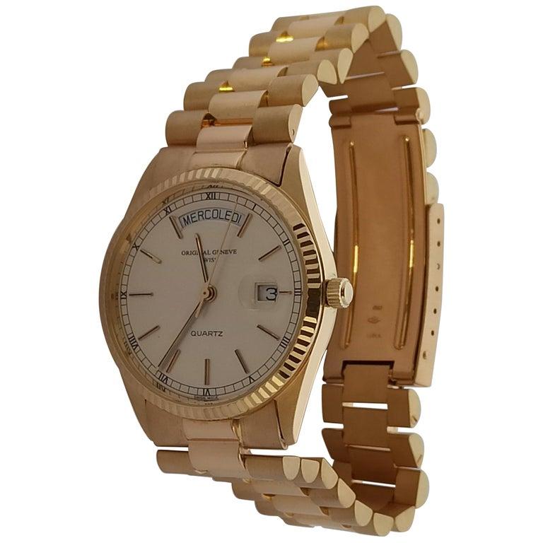Original Genève Day Date Style 18 Karat Solid Gold Wristwatch President Bracelet For Sale