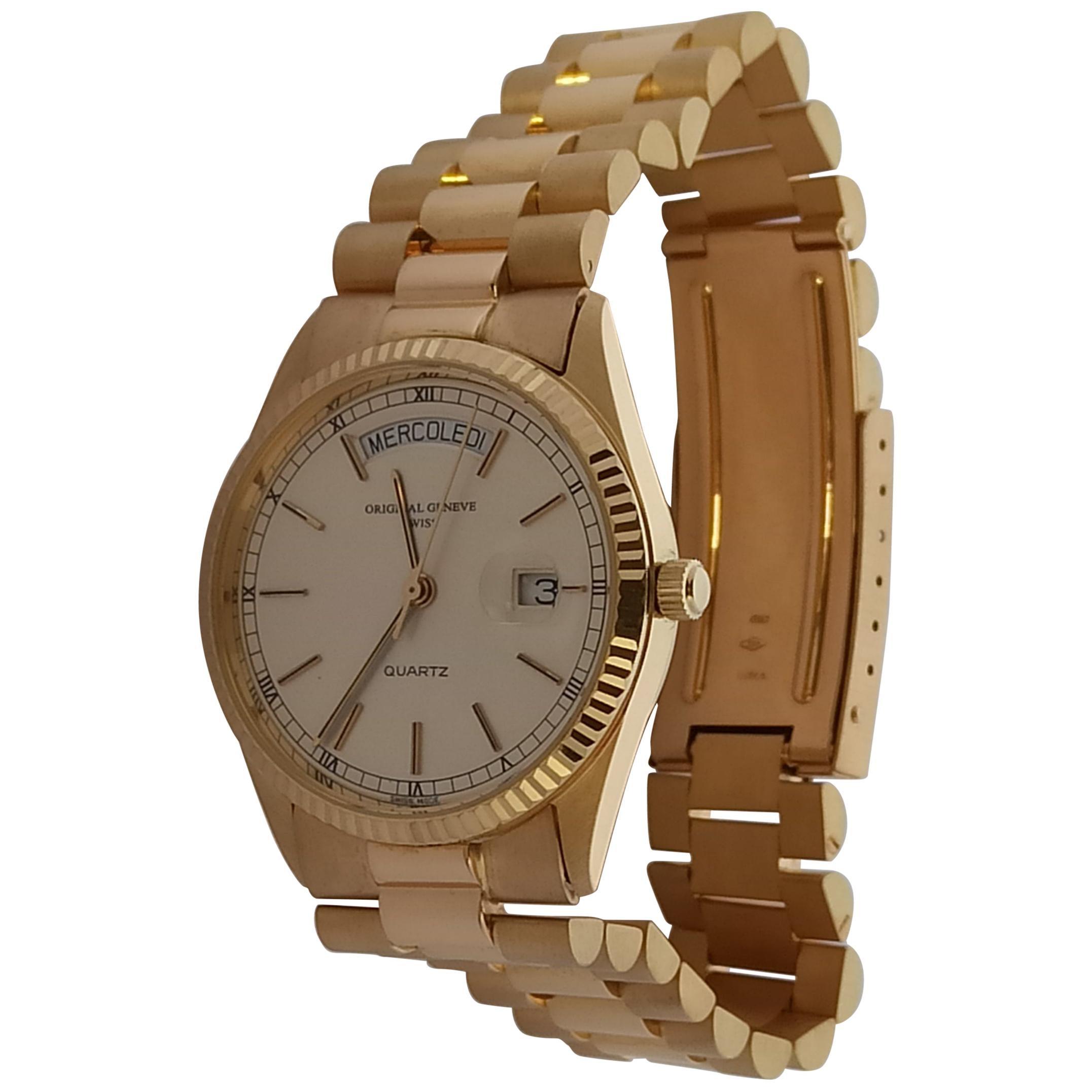 Original Geneve, DayDate Style 18 Karat Solid Gold Wristwatch President Bracelet