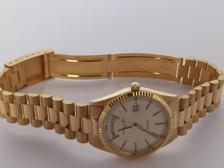 Original Genève Day Date Style 18 Karat Solid Gold Wristwatch President Bracelet For Sale 1